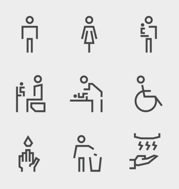 Free Toilet Restroom Symbol Icons Set