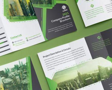 Free Trifold Brochure Corporate Green Branding Set