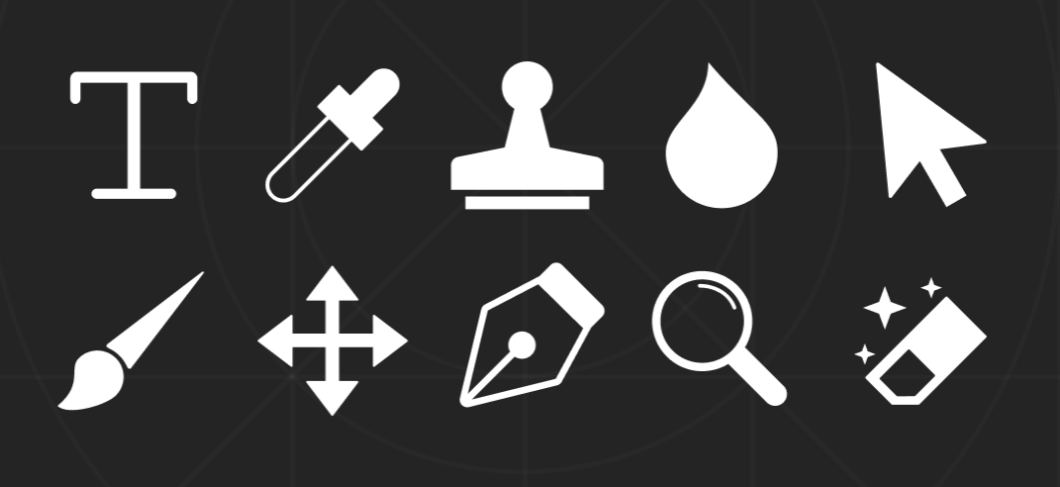 Pixel-perfect Photoshop Tools Icons Pack