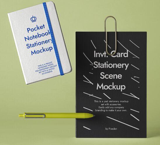 Stationery Psd Notebook Mockup Scene