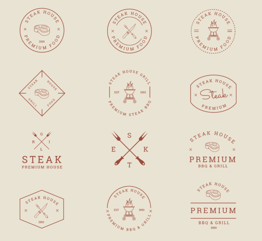 Grill and BBQ Badges Vector