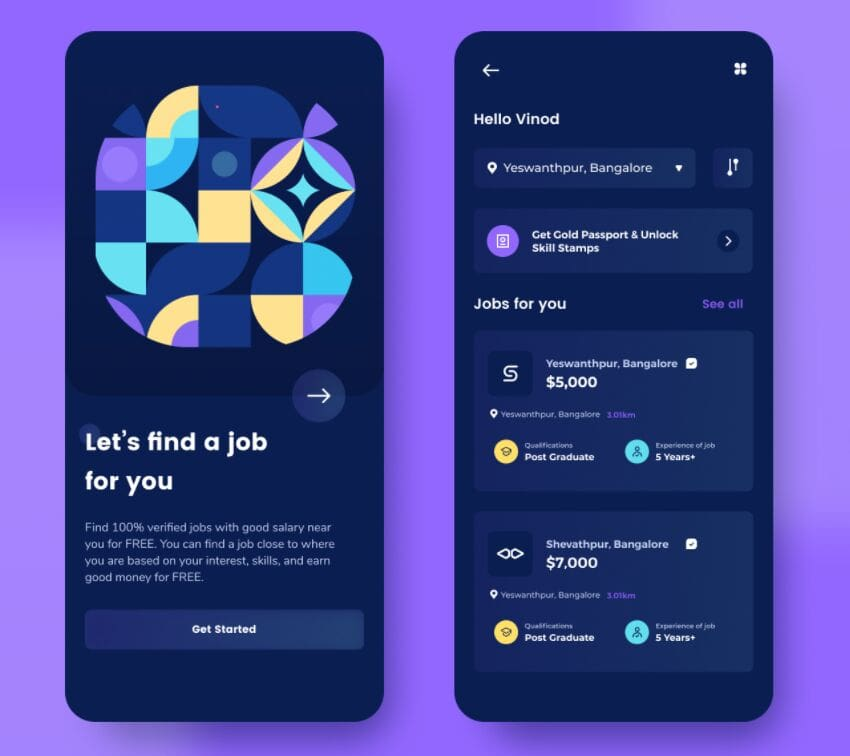 Job Finder App Design