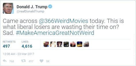 Trump 366 Weird Movies tweet