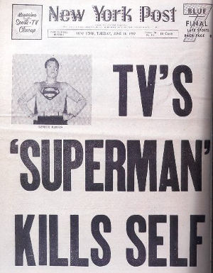 Headlines from George reeves' death