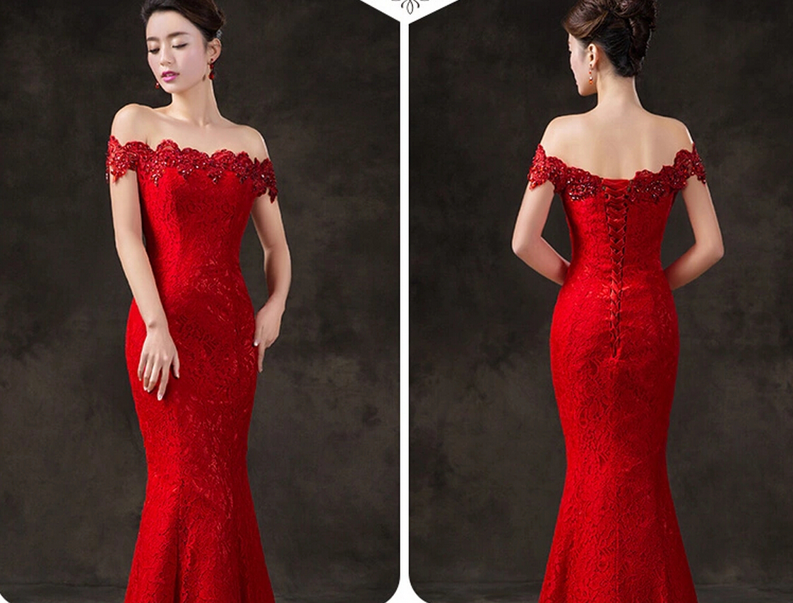 Cap Sleeve Lace Bridal Wedding Party Dress Red Mermaid