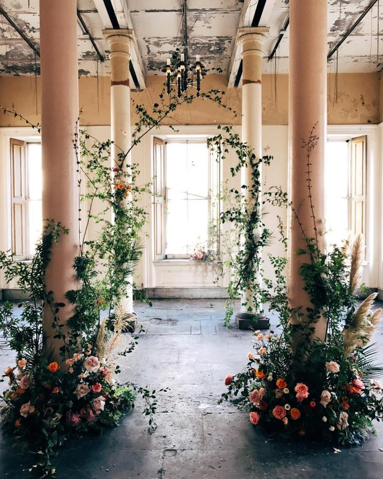 wedding backdrops floral greenery ceremony planters