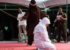 Woman Flogged In Public For Having S*x Outside Marriage In Indonesia