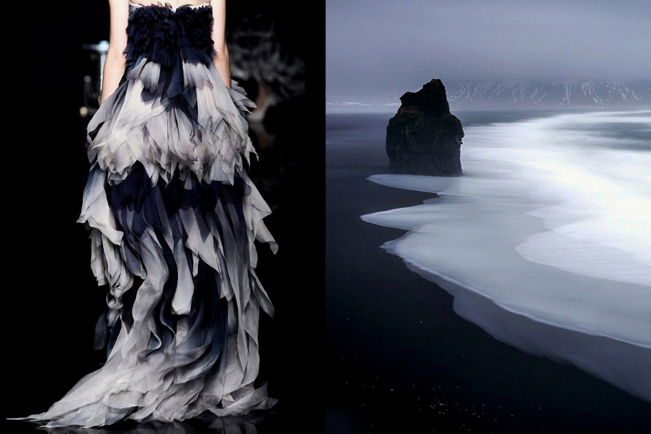 Match #139<br /> Yiqing Yin Haute Couture Fall 2012 | The black coast of Vik during heavy rainfall in Iceland by Stefan Forster<br /> More matches here