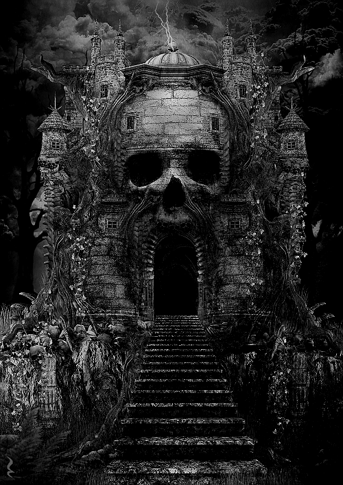 "darkestdee:  Source | ^(OvO)^  The house from my nightmares exists. Is it real or part of my vivid imagination? Is part of its facade a skull? Does this mean that death lives here? ""Yes"" the wind echoes. THE DEAD live here. Come and meet them. THE DEAD GAME by Susanne Leist"