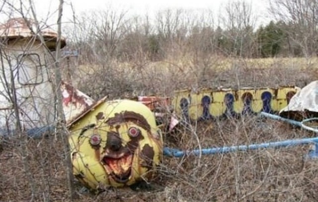 stained-glasseyes:</p> <p>blackwallflower:</p> <p>avelandthesea:</p> <p>Abandoned Amusement Park in New Orleans</p> <p>A great setting for a murder mystery.<br /> A dead body found…<br /> Let's think of a good spot.<br /> A body found in the jaws<br /> of the alligator statue.<br /> The police look for clues.<br /> The officer steps into the fun house.<br /> Little does he know,<br /> but the fun house doesn't have a floor.<br /> He steps in and falls into a deep ditch.<br /> One down.<br /> The next officer checks the top<br /> of the long slide.<br /> He feels himself being pushed<br /> down the colorful slide and<br /> his head hits the bottom with a bang.<br /> Another down.<br /> The last officer tries to start the Ferris Wheel<br /> and guess what?<br /> He's electrocuted for his efforts.<br /> The murderer chuckles and shuffles<br /> off his merry way.<br /> He didn't even need the clown costume.