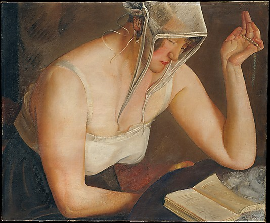 """Woman Reading (1922).Boris Grigoriev (Russian, 1886–1939).Oil on canvas.The Metropolitan Museum of Art. """"""""I have been watching and studying the Russian people for many years … and these paintings are the fruits of my observations."""" (Grigoriev)"""