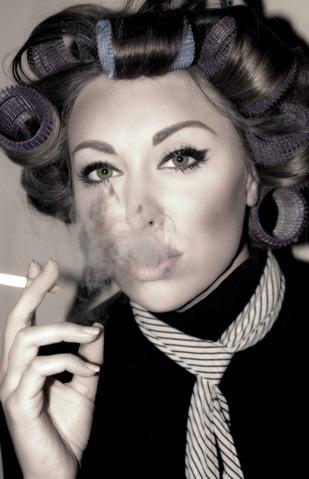 sissyperm smoking in curlers