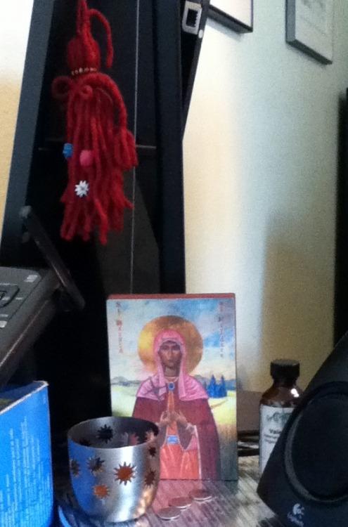 My little altar niche at work.