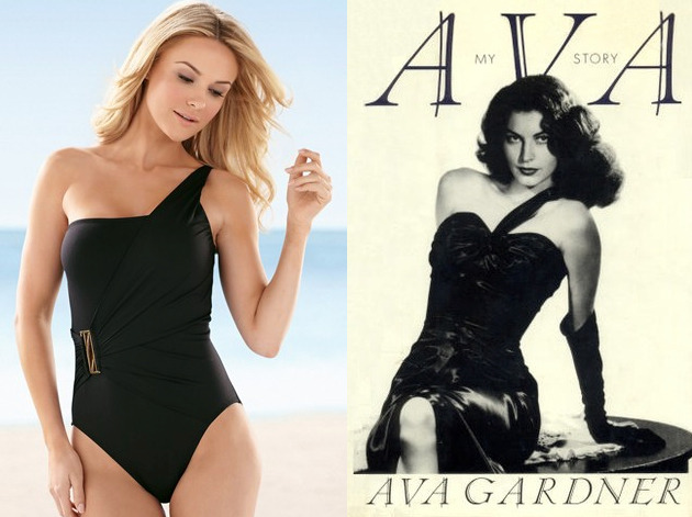 The book: Ava Gardner : My Story  The bathing suit: La Blanca black Solid One Shoulder One Piece from Soma Intimates. $113.