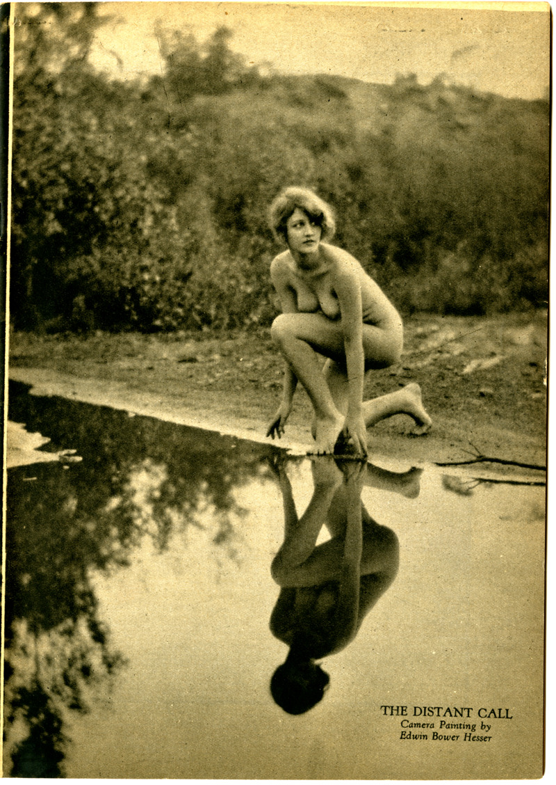 realityayslum:  Edwin Bower Hesser - The Distant Call, early 1920s. … from Living Art Models Quarterly, Vol.1 No.1, early 1920s … via the Grapefruit Moon Gallery  Woods nymph at dawn stopping at the water hole. After a long night of sex with the other nymphs, they get thirsty.