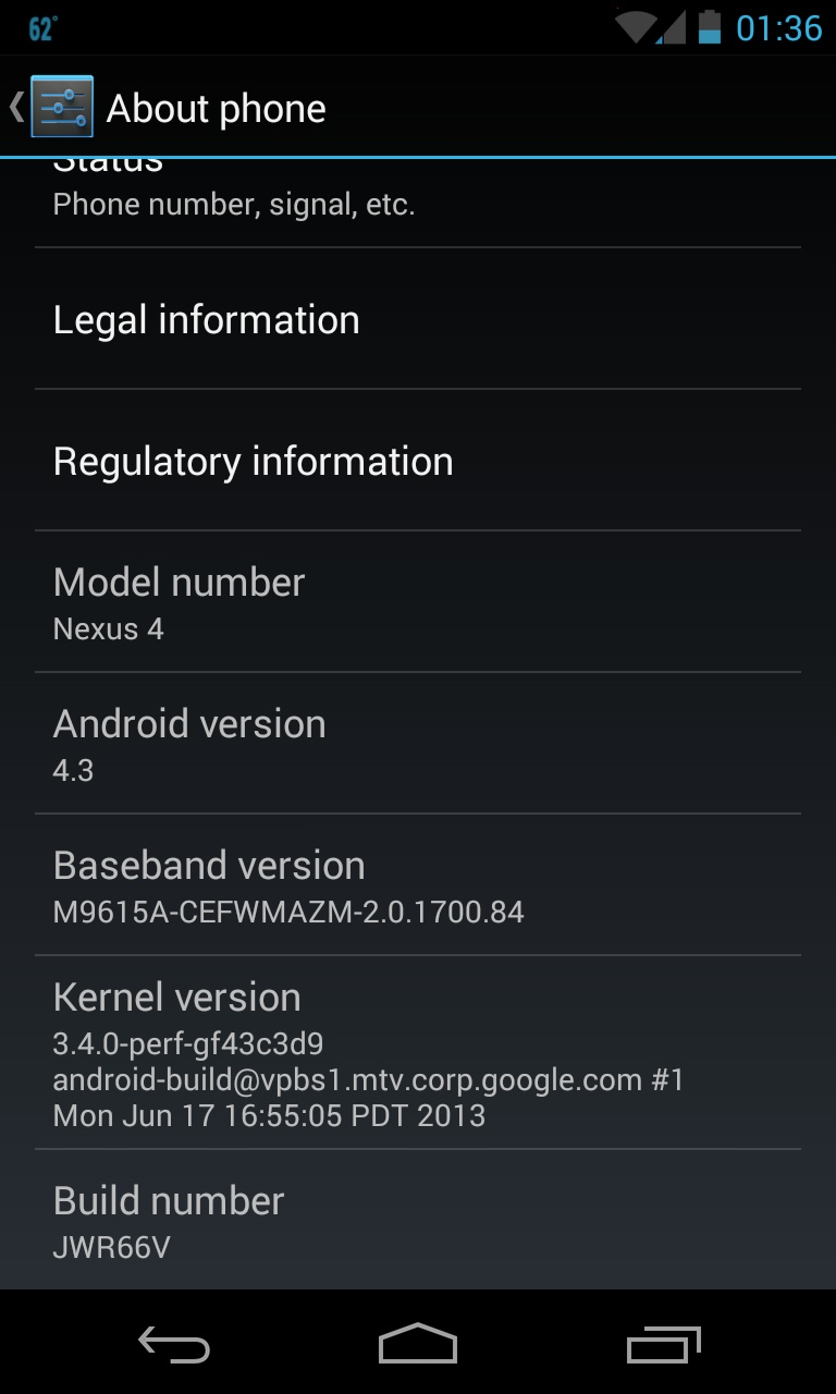 Android 4.3 on Nexus 4 About Phone