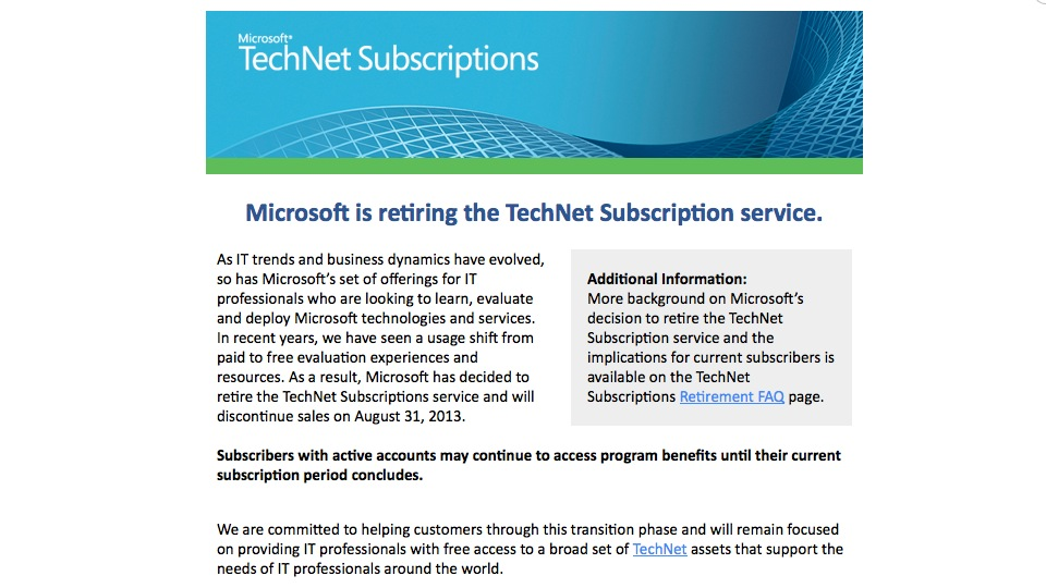 Microsoft is retiring TechNet Subscription service