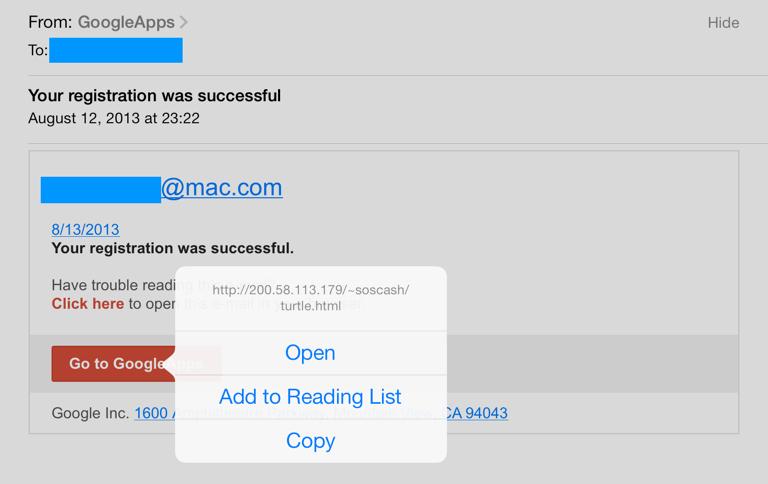 Phishing Spam Google Apps