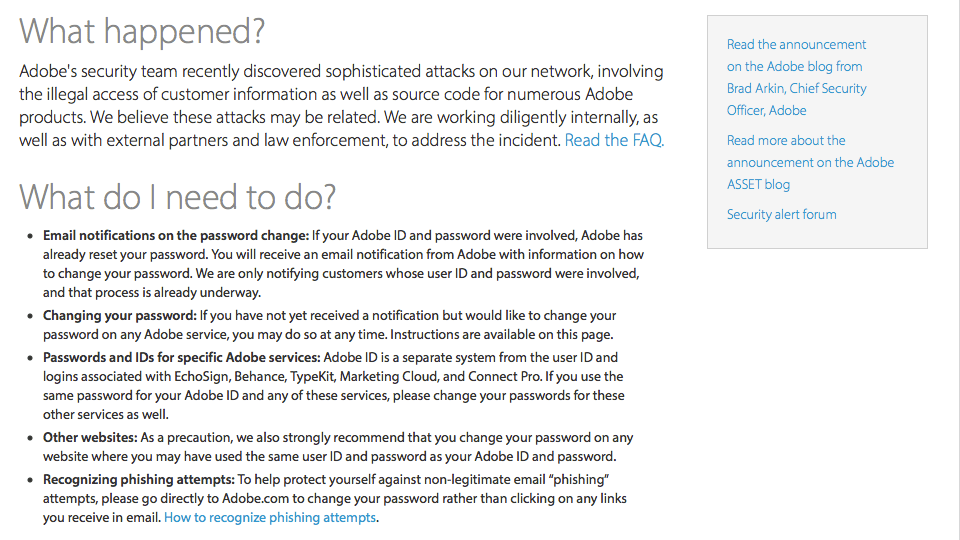 Adobe FAQ on Security Breah 20131003