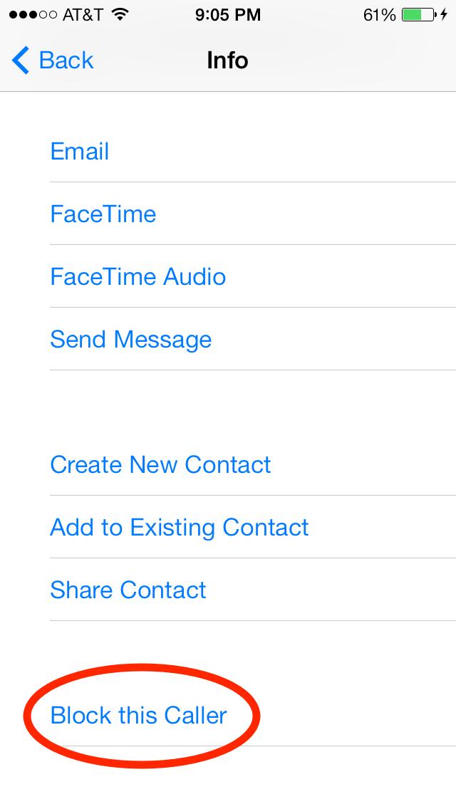 iOS 7 Block this Caller