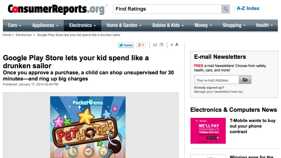 Consumer Reports article about Google Play Store