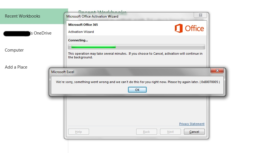 Office 365 Failed to Activate