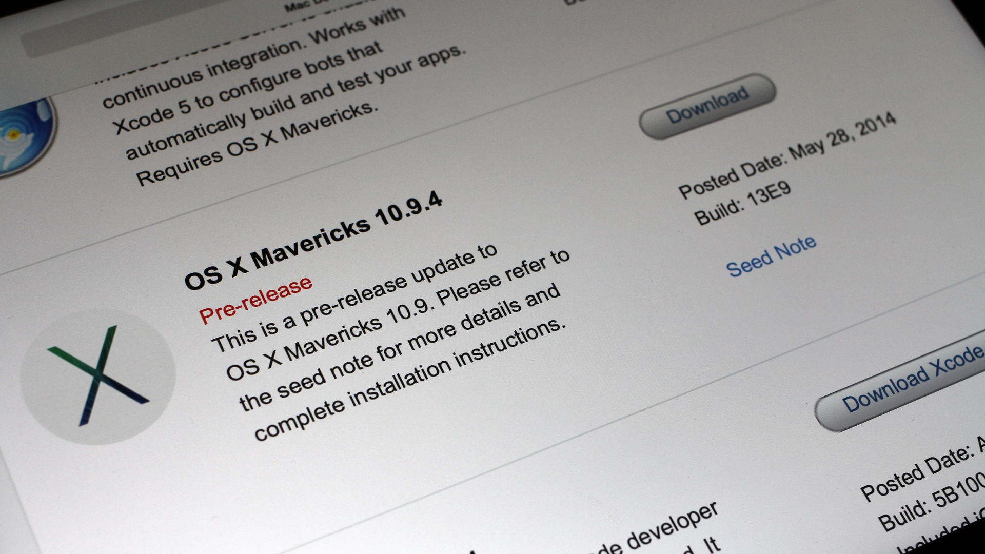 OS X Mavericks 10.9.4 Build 13E9