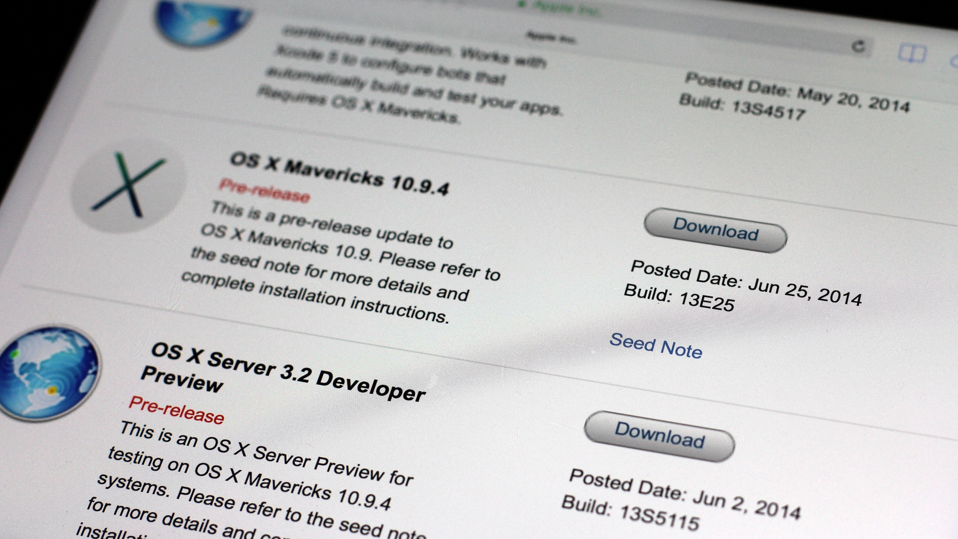 OS X Mavericks 10.9.4 build 13E25