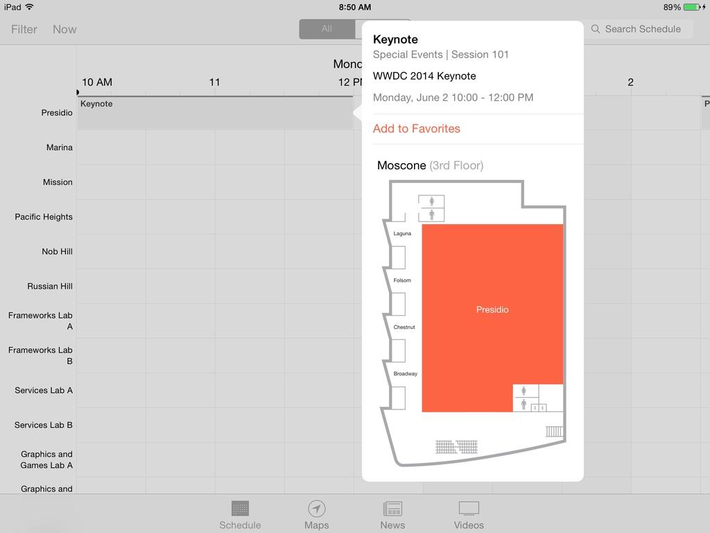 WWDC 2014 Keynote Calendar Moscone Presidio Room