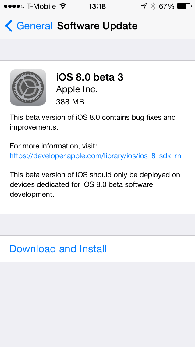 iOS 8.0 beta 3 Software Update