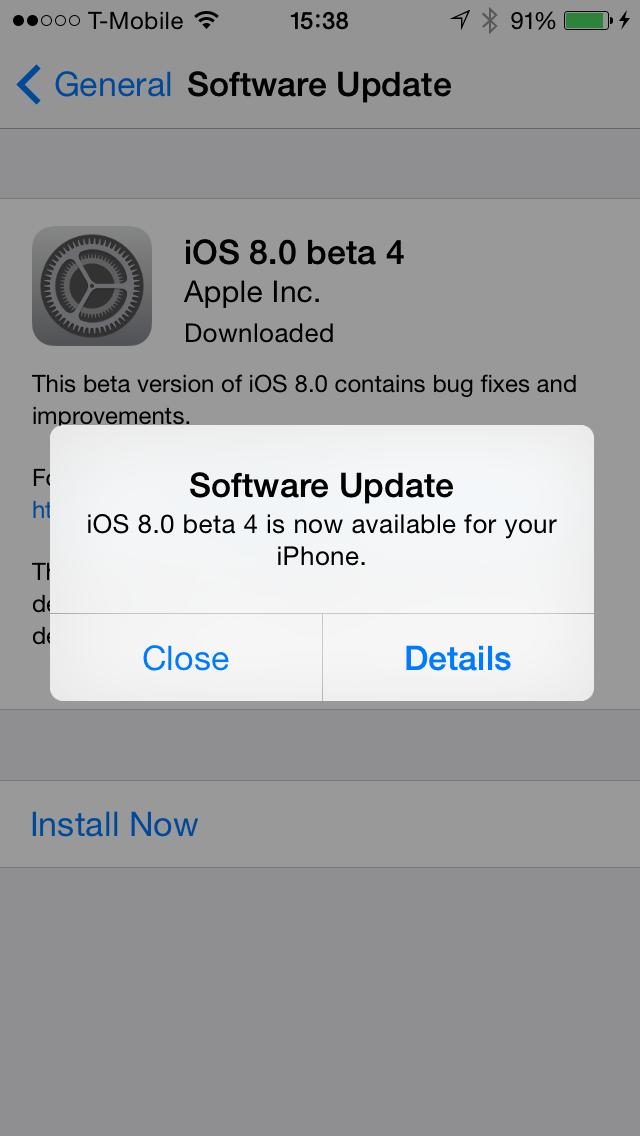 iOS 8.0 beta 4 Update on iPhone 5s