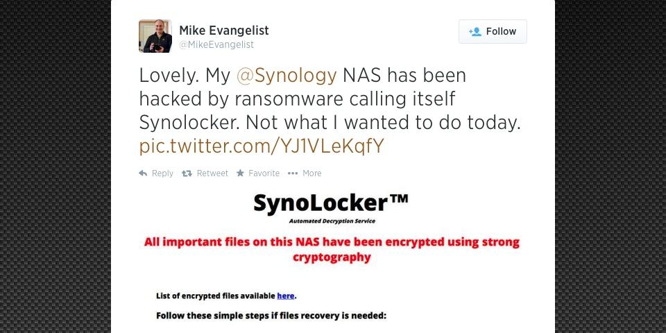 Mike Evangelist Tweet Synology Synolocker