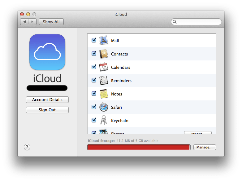 iCloud System Preference Pane