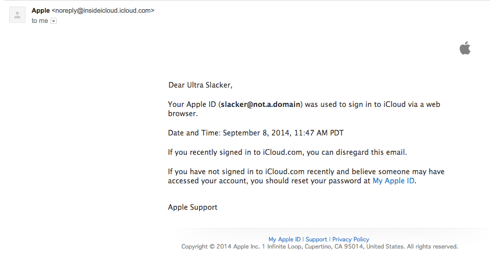 Apple iCloud Sign-in notification