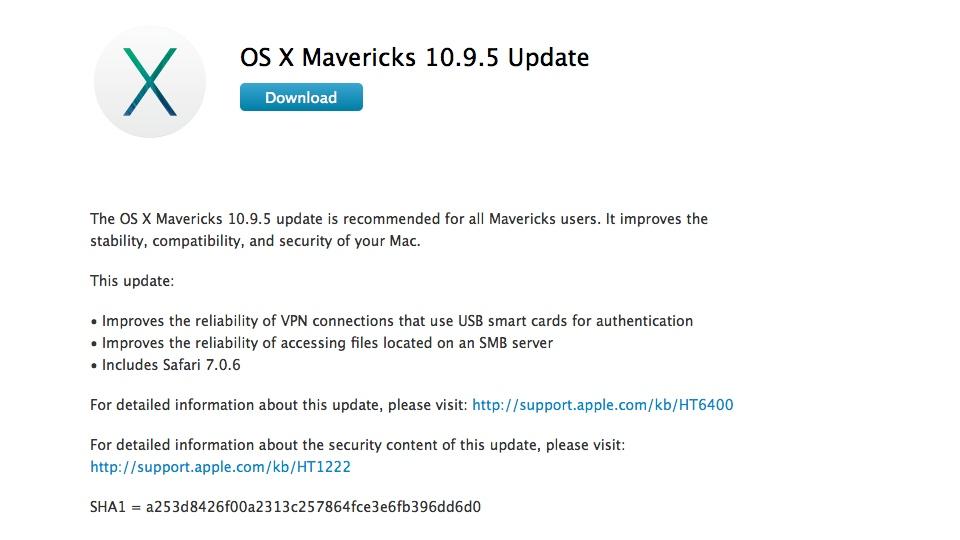 OS X Mavericks 10.9.5 Update