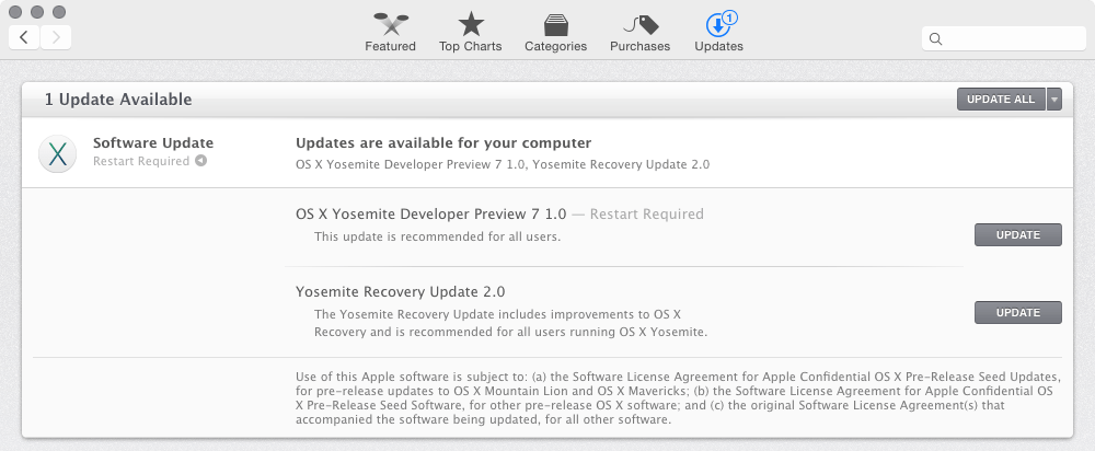 OS X Yosemite Developer Preview 7