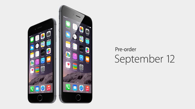 iPhone 6 and iPhne 6 Plus Pre-order September 12