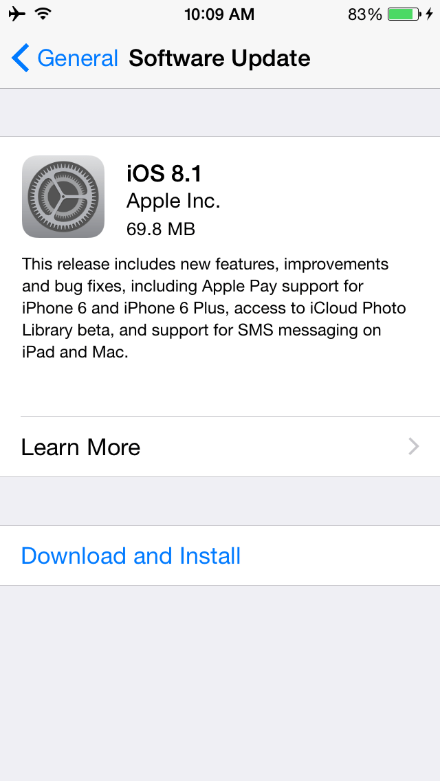 iOS 8.1 update on iPhone 6
