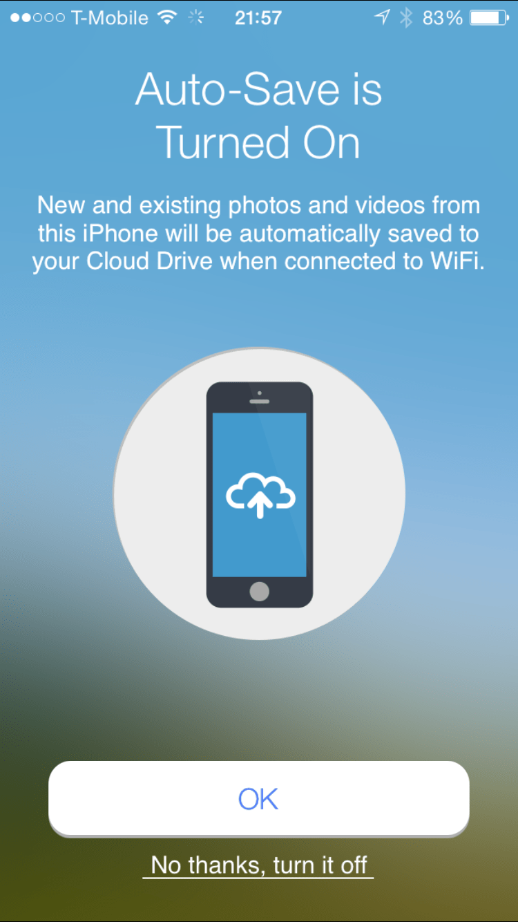 Amazon Cloud Drive Photos iOS App Auto-Save