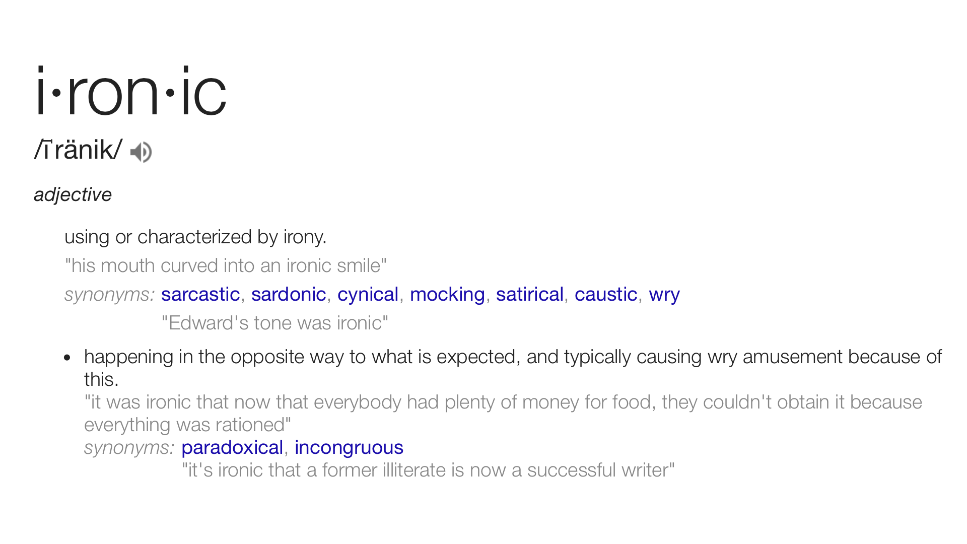 Ironic Definition