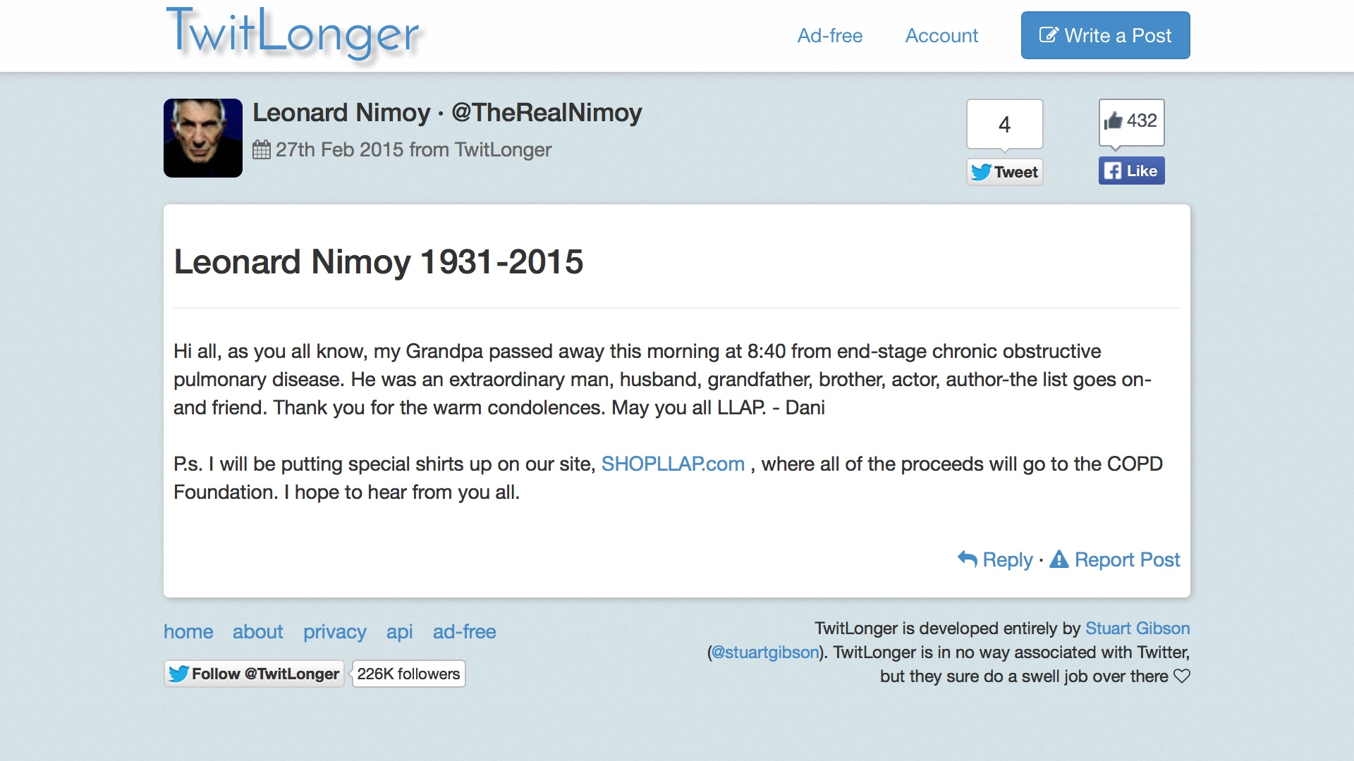 Leonard Nimoy 1931-2015 TwitLonger