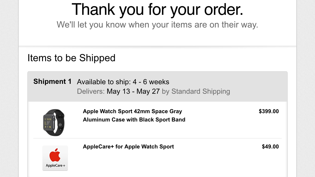 Apple Watch Sport Pre-Order Spay Gray 4-6 Weeks