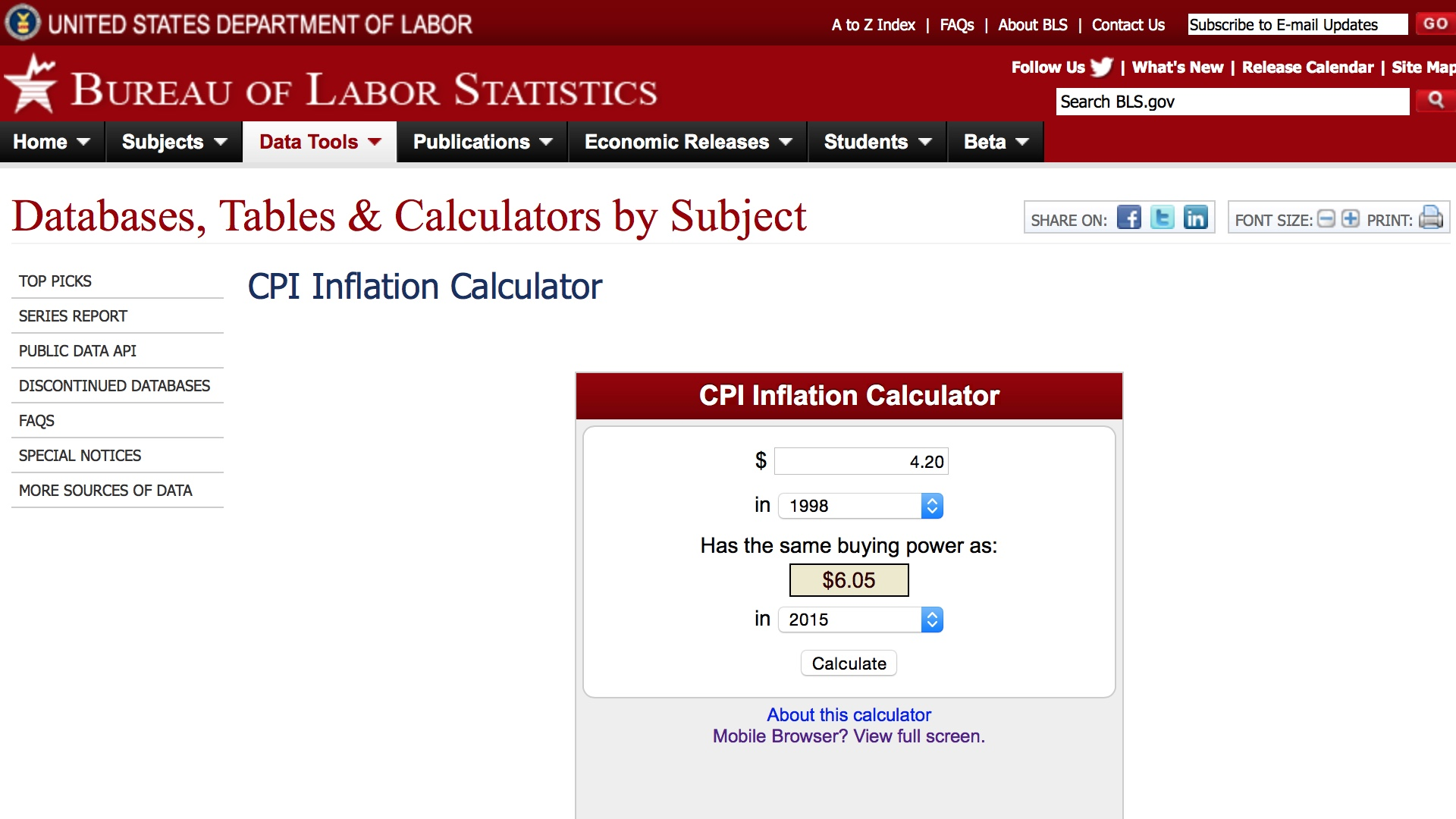 Inflation Calculator 1998-2015