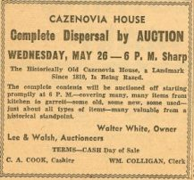Cazenovia House Auction Ad 1955