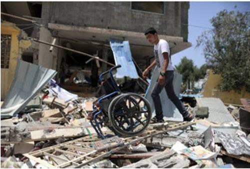 Photo of demolished center for disabled people in Gaza, after bombing by Israeli Air Force.
