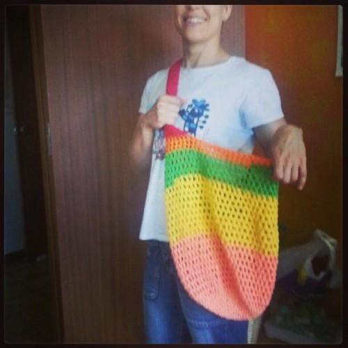 Bolsa guardatodo bandolera de #ganchillo #olemiarte