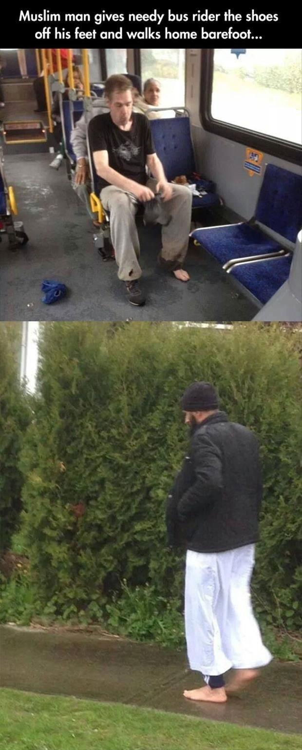 Un uomo dona le sue scarpe ad uno sconosciuto in autobus e torna a casa a piedi nudi.  La mia fiducia nell'umanità è stata ripristinata, almeno in parte. E la vostra?
