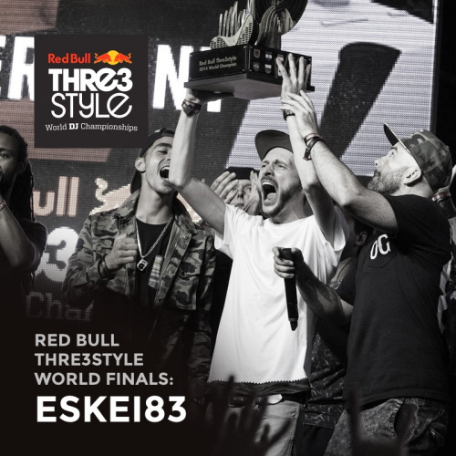 Germany's Eskei83 has been crowned the 2014 Red Bull Thre3style World Champion — following a week of battles in Baku, Azerbaijan. The DJcity Germany team member went up against Flip (Ireland), Trayze (USA), Twist (Azerbaijan), Cinara (Brazil), and Carlo Atendido (Philippines) at the final battle on September 6. Eskei, who came in third place at the 2013 finals, was favored by many to win this year's battle. His winning set featured hard-hitting beats, creative tone play and his signature reggae influences. Listen here: http://www.mixcloud.com/RedBullThre3style/eskei83-germany-world-finals-championship-final/
