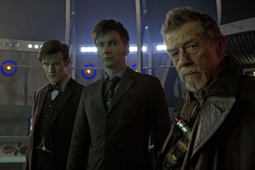 "jelizabethl: doctorwho: The first in-studio image of Matt Smith, David Tennant, and John Hurt from the set of 'The Day of The Doctor.' Don't close your dash as we have a few more images coming in a bit…. !!!!!!!! A couple things on this: 1. I spent my summer watching all seasons of the new Doctor Who specifically because everyone talks about it on Tumblr and I wanted to see what all the fuss was about. 2. Oh my god this show is phenomenal. If you are not watching it, start! 3. This show had the ability to make me fear and hate little talking vacuum cleaners. S-C-A-R-Y! Exterminate!!! 4. The Day of the Doctor is the same day as Ryan's birthday. This news excites me a lot more than him as he is not so terrified of little talking vacuum cleaners. 5. There is a Doctor Who centric blog??? Excuse me while I click ""Follow:"""