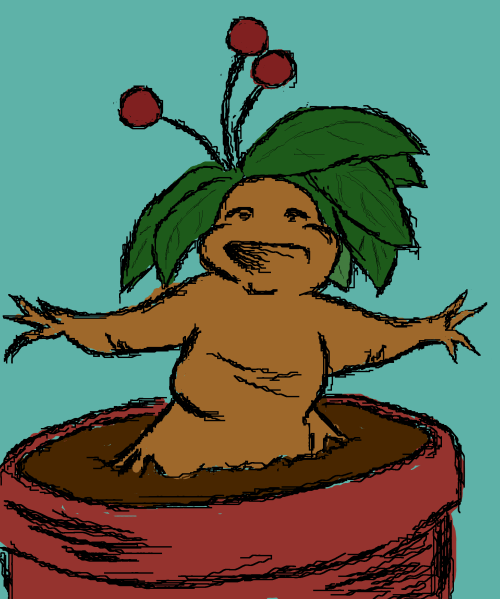This is what I imagine when you post stuff about your mandrake  Thanks so much for the submission Kingcitywitch! Actually they are a lot like that. As rootandrock made me realize they make a high pitched screeching sound when you rub their leaves together, and my main one looks like a woman, just like your lovely drawing! Thank you so much :D I am in total glee, you made my day!
